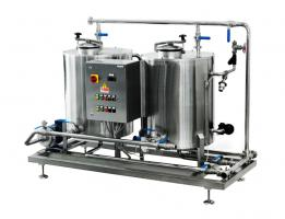 Two-station CIP with steam-heating for small production